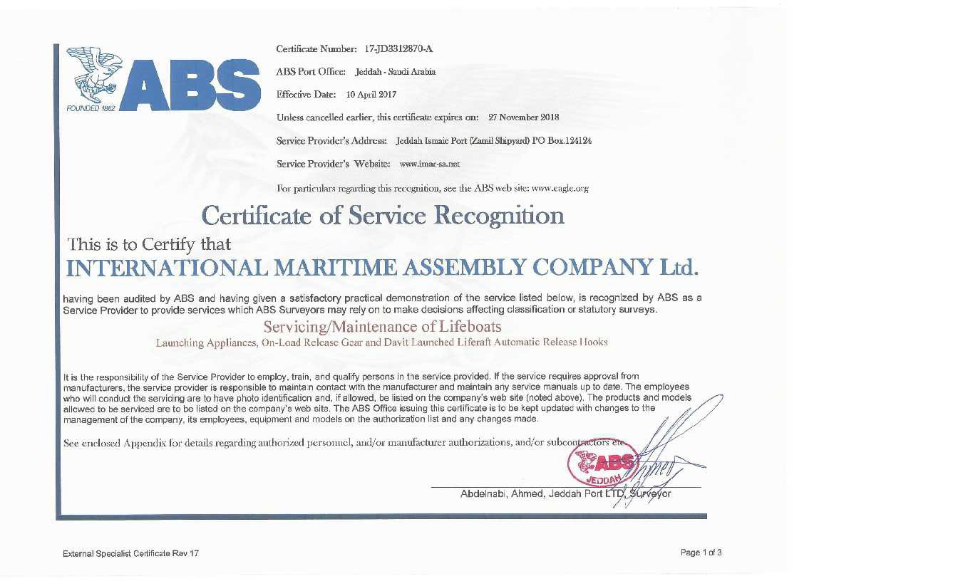 Imac Class Certifications Imac International Maritime Assembly